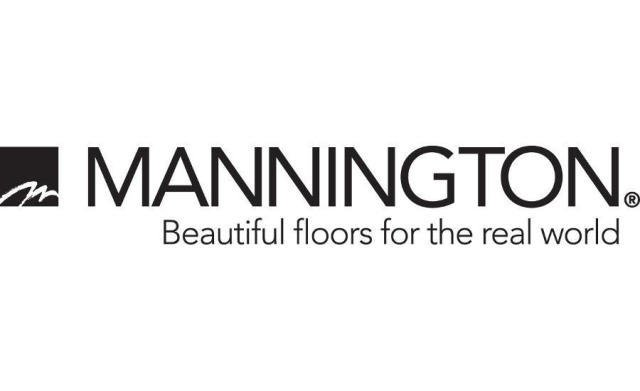 "Mannington Logo with quote: ""Beautiful floors for the real world"""