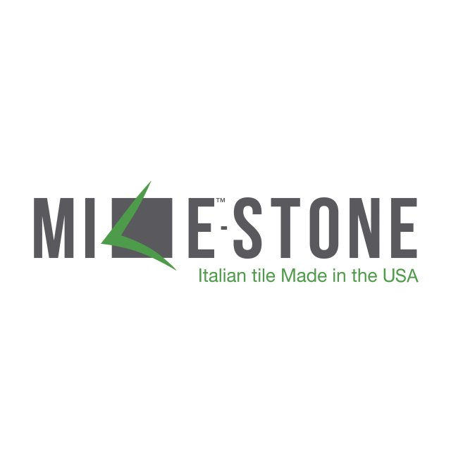 "Milestone Logo with quote: ""Italian tile Made in the USA"""