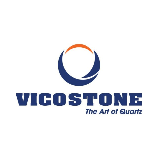 "Vicostone Logo with quote: ""The Art of Quartz"""