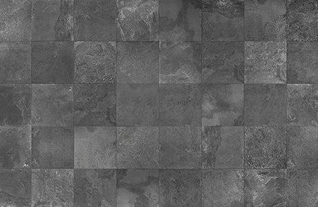 Dark grey, square-cut tile flooring