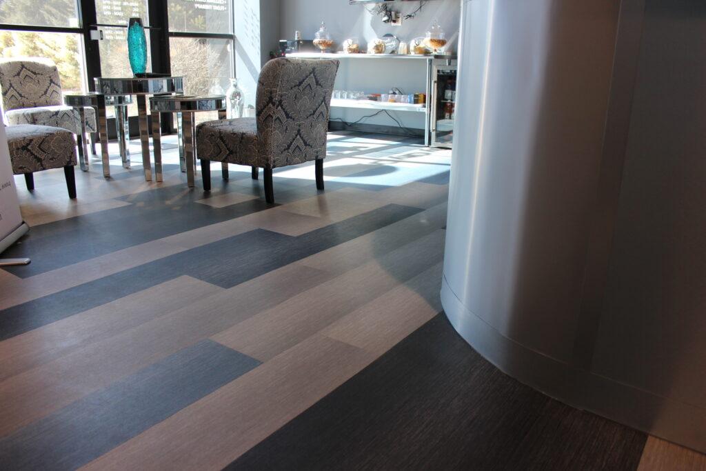 Custom commercial entryway with updated luxury vinyl flooring