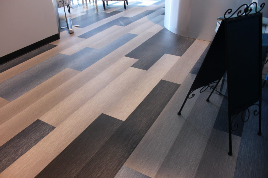 Multi-colored commercial luxury vinyl flooring